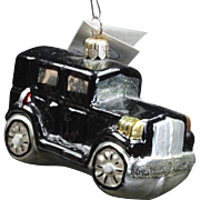 Vintage Radko 1996 Classic Black Car Glass Hand-Painted Christmas Ornament Tag