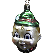 Vintage German Made Elf Boy Head Mouth-Blown & Hand-Painted Christmas Ornament