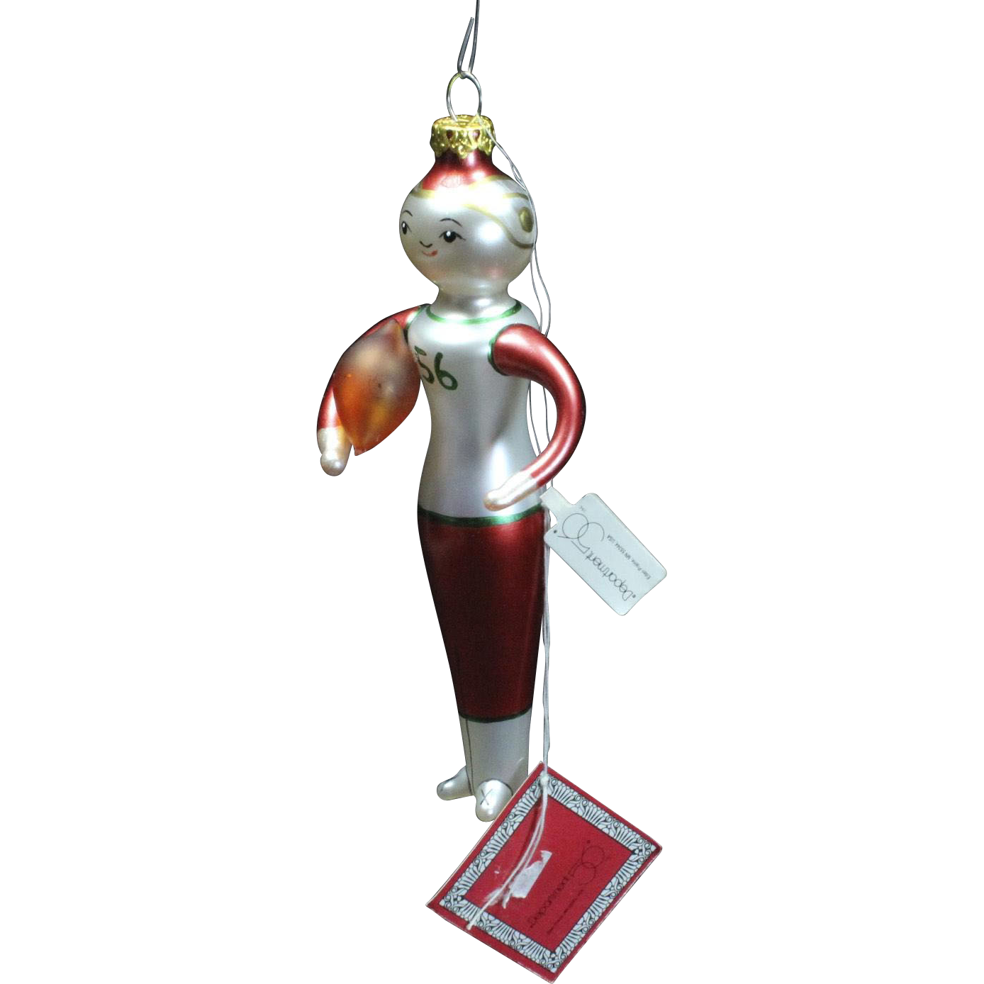 Beaux Arts Department 56 Football Player Glass Christmas Ornament with Tags