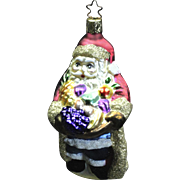 "E.M. Merck Signed 1990s ""Bountiful Santa"" Fruit Hand-Painted Christmas Ornament"