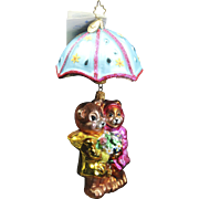 "Radko April  ""Shower Me With Love"" Bears and Umbrella Ornament Tag & Box"