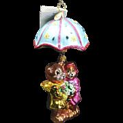 "Radko April  ""Shower Me With Love"" Bears and Umbrella Ornament Tag & Box"