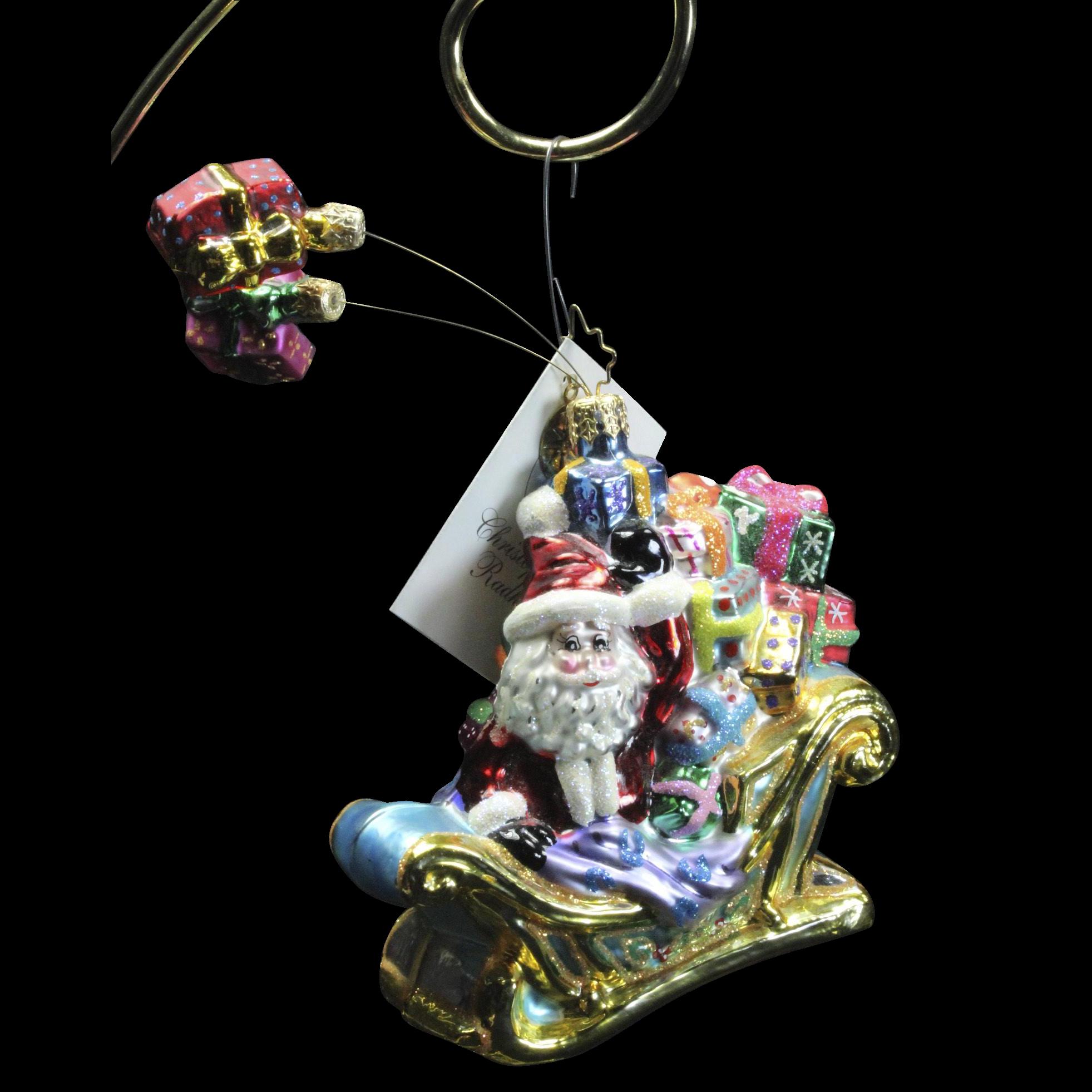 "Radko  ""Dashing Deliver"" Santa Sleigh Gifts Glass Christmas Ornament Tag Box"