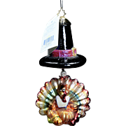 "Radko  ""Hats Off To Tom"" Turkey Hand-Painted Thanksgiving Glass Ornament Tag"