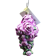 "Radko  ""Pretty Petals"" Flower Cancer Charity Hand-Painted Glass Ornament Tag"