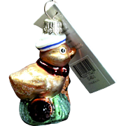 "Radko  ""String Me Along"" Toy Duck Hand-Painted Glass Christmas Ornament"