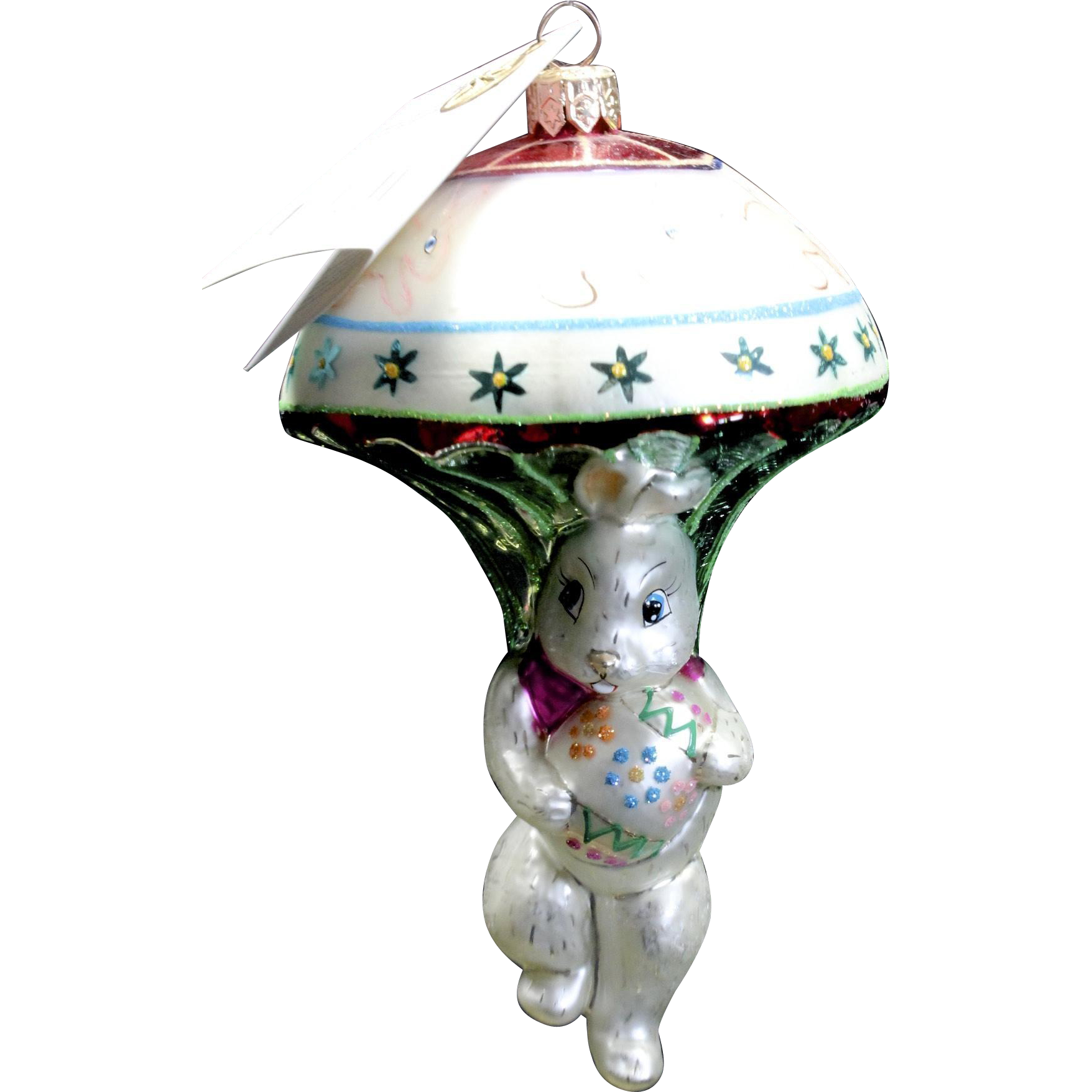 "Radko ""Bunny Jump"" Parachute Hand-Painted Glass Easter Ornament Tag & Box"