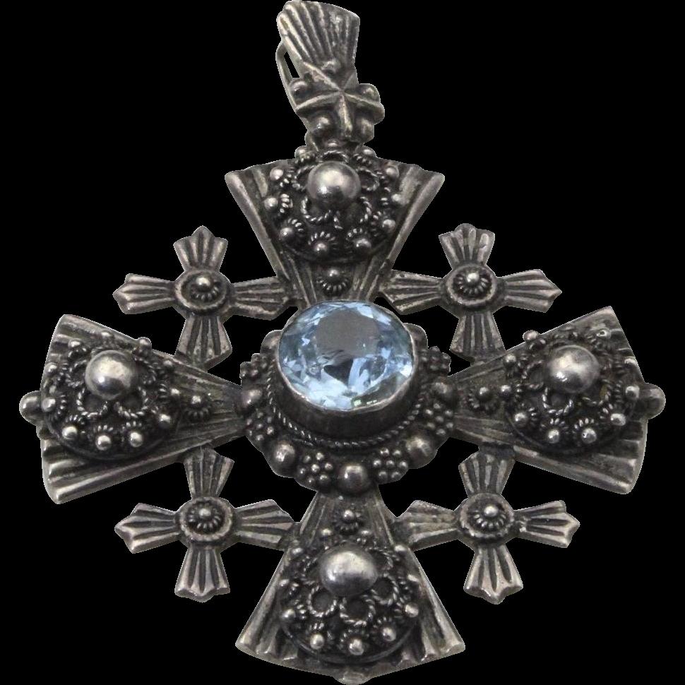 Vintage 900 Silver & Blue Topaz Multiple Coptic Cross Necklace Pendant