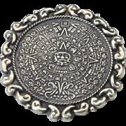 VIntage Sterling Silver Mayan Aztec Sun Calendar Pendant Pin Mexico Eagle Signed