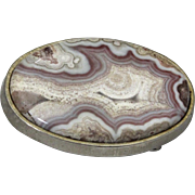 Vintage Large Crazy Lace Agate Stone Belt Buckle Heavy Gold-Tone