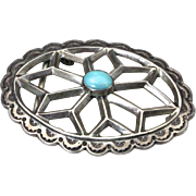 Vintage Sterling Silver & Turquoise Sand Cast Stamped Belt Buck Signed Southwest