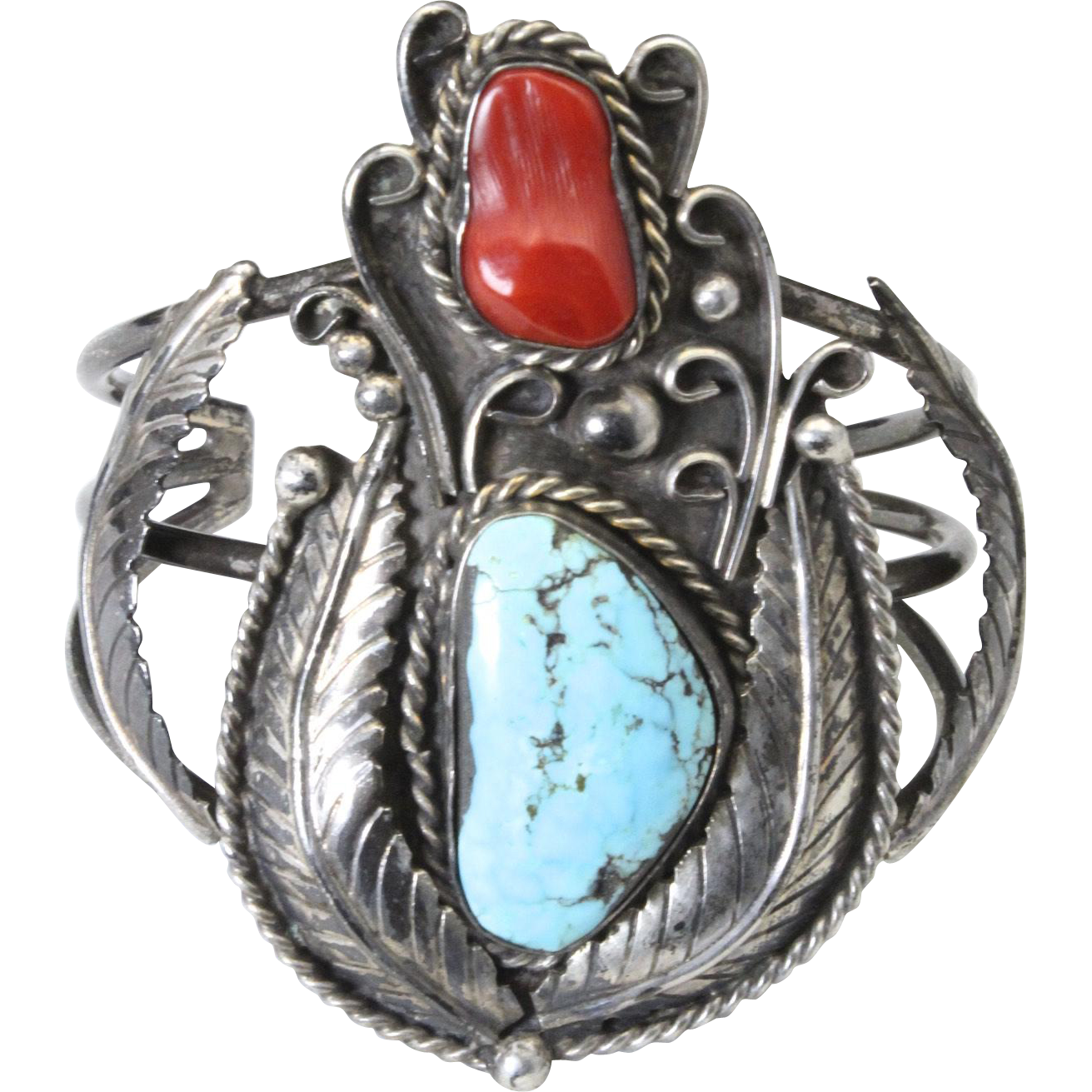 Vintage Navajo Sterling Silver & Turquoise Coral Cuff Bracelet Signed Apachito