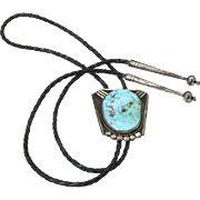 Vintage Large Turquoise Sterling Silver & Braided Leather Bolo Tie Southwestern