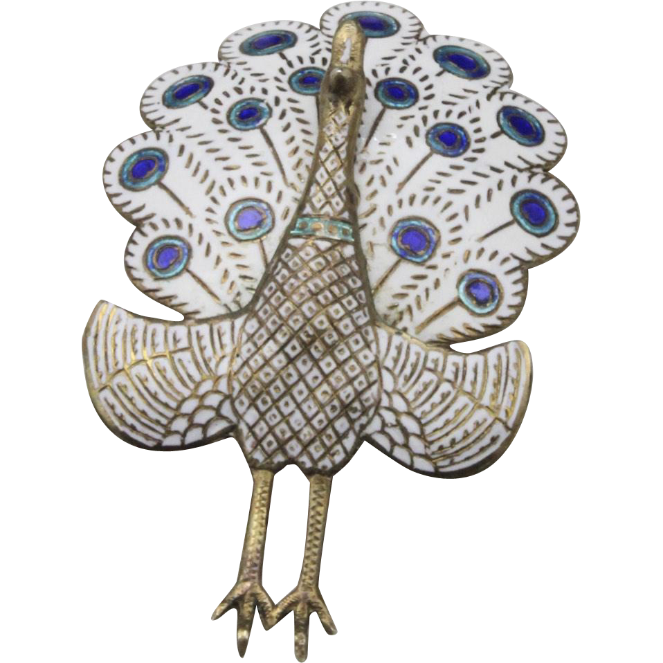 Vintage Hinged Peacock Pin Brooch Sterling Silver Gold Overlay Enamel White Siam