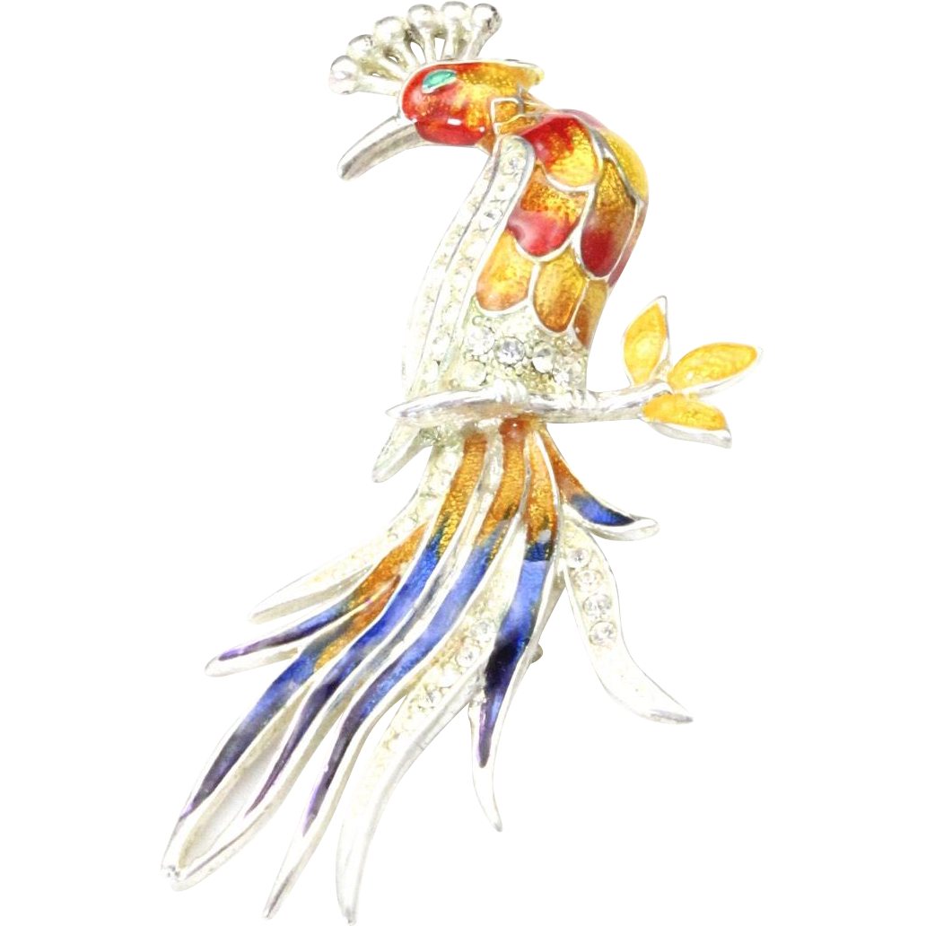 Vintage Large Multi Color Peacock Pin Brooch Rhinestone & Enamel Bird Yellow