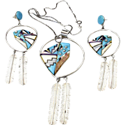 Vintage Zuni Multi-Stone Inlay Necklace Pendant & Dangle Earring Set Modernist