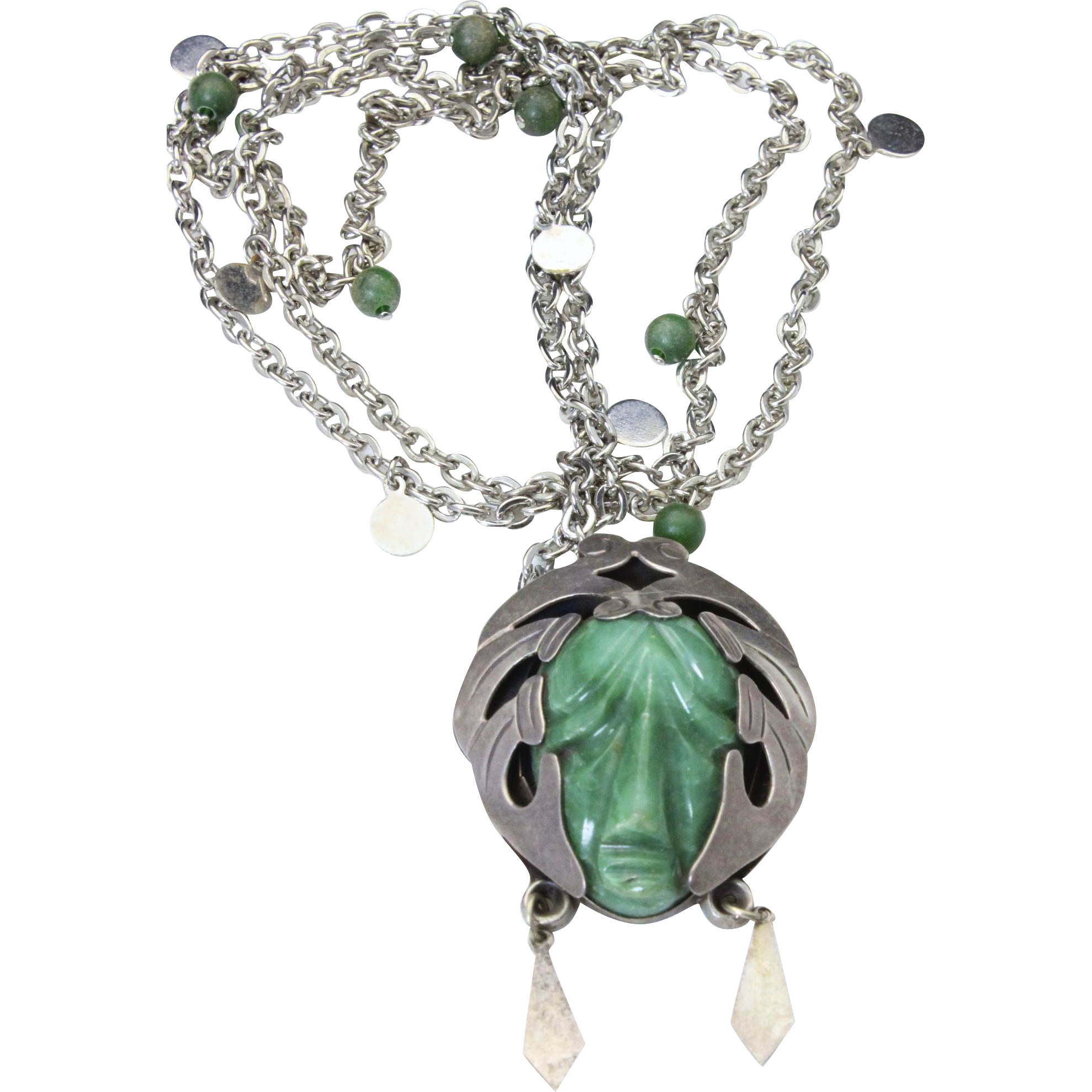 Vintage Taxco Green Carved Jade God Head Face Sterling Silver Pendant Necklace