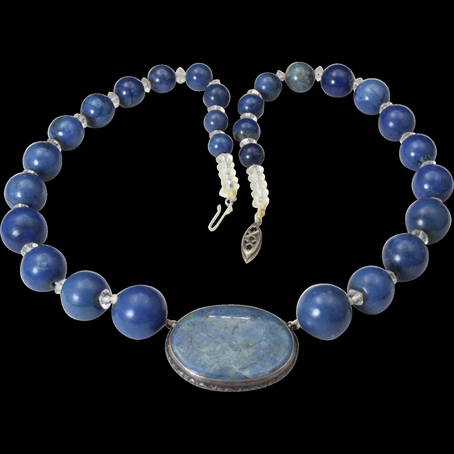 Vintage Denim Lapis Bead & Pendant Necklace Blue Stone Strung Old Gold Filled