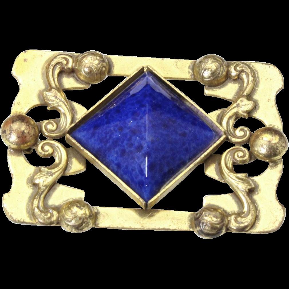 Vintage Art Nouveau Large Gold Tone Blue Art Glass Brooch Pin Brass Bronze