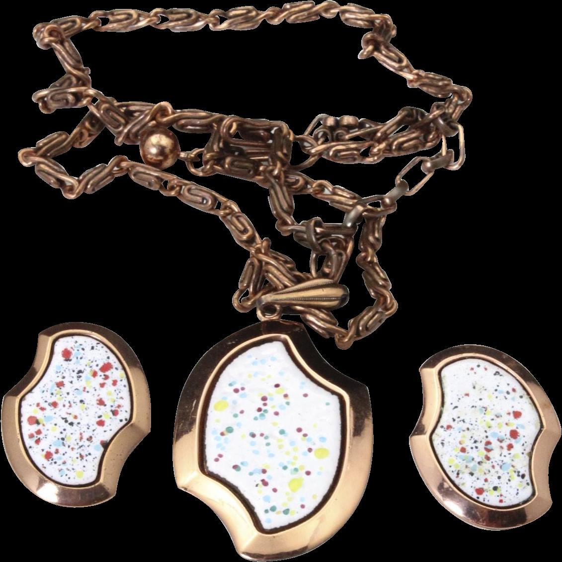 Vintage Mid Century Copper & Confetti Enamel Chain Necklace Pendant Earring Set