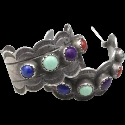 Vintage Sterling Silver & Multi Stone Hoop Earrings Post Back Southwestern