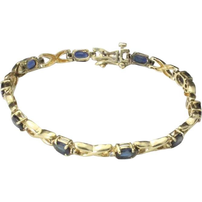 Vintage 14k Yellow Gold Sapphire & Diamond Dainty Tennis Bracelet Hinged Link