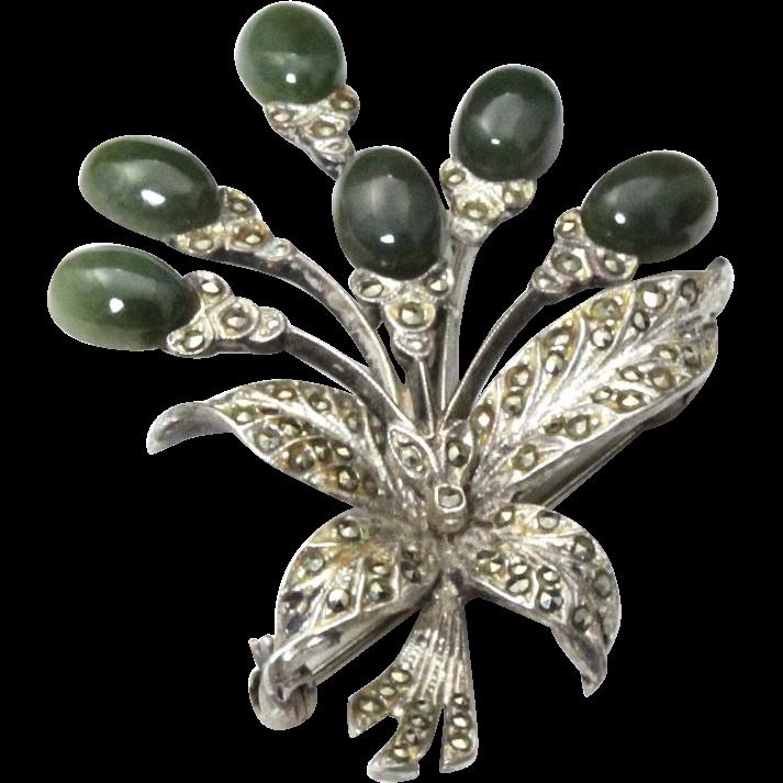 Vintage Sterling Silver Jade & Marcasite Flower Pin Brooch Nouveau Signed