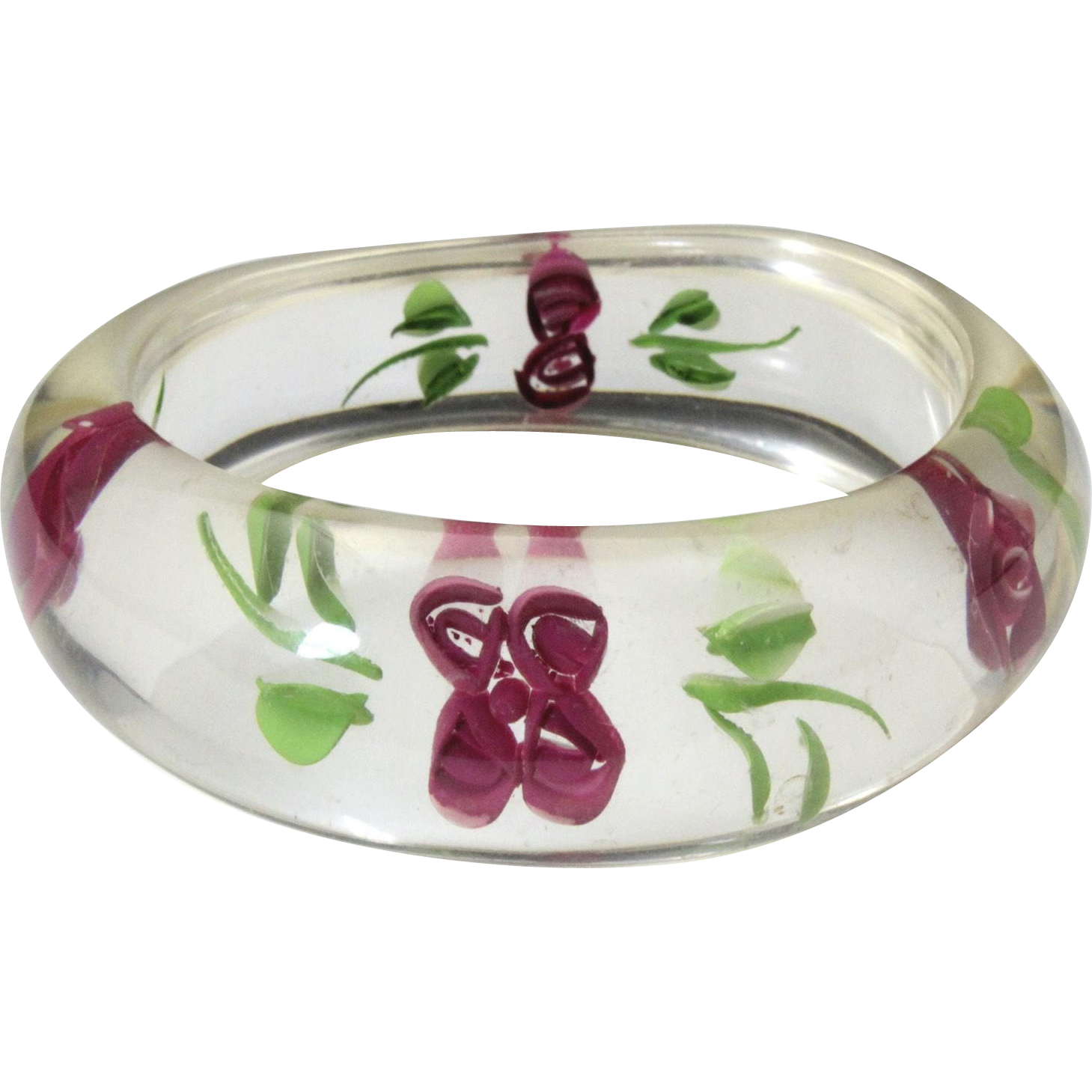 Vintage 1960s Lucite Rose Bangle Bracelet Flower Power Hippie Mod Jewelry Retro