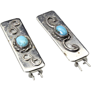Pair of Vintage Hair Clips Pins Southwestern Silver & Turquoise Barrette