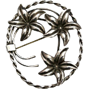 Vintage Floral Sterling Silver Flower Pin Brooch