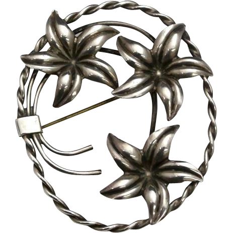 Vintage Floral Sterling Silver Flower Pin Brooch