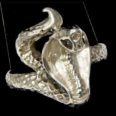 Vintage Silver Cobra Snake Ring Size 10.25
