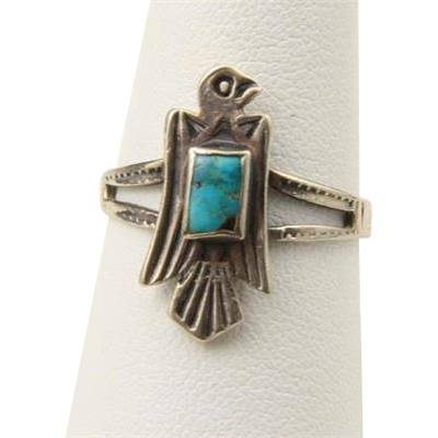 Vintage Sterling Silver & Turquoise Eagle Bird Ring Southwestern Sz 8.5