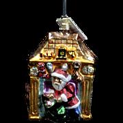 "Radko 1996 ""Return Engagement"" Santa Down Chimney Glass Christmas Ornament Tag"