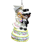 "Radko  ""Cake Walk"" Wedding Cake Topper Glass Christmas Ornament w/ Tag"