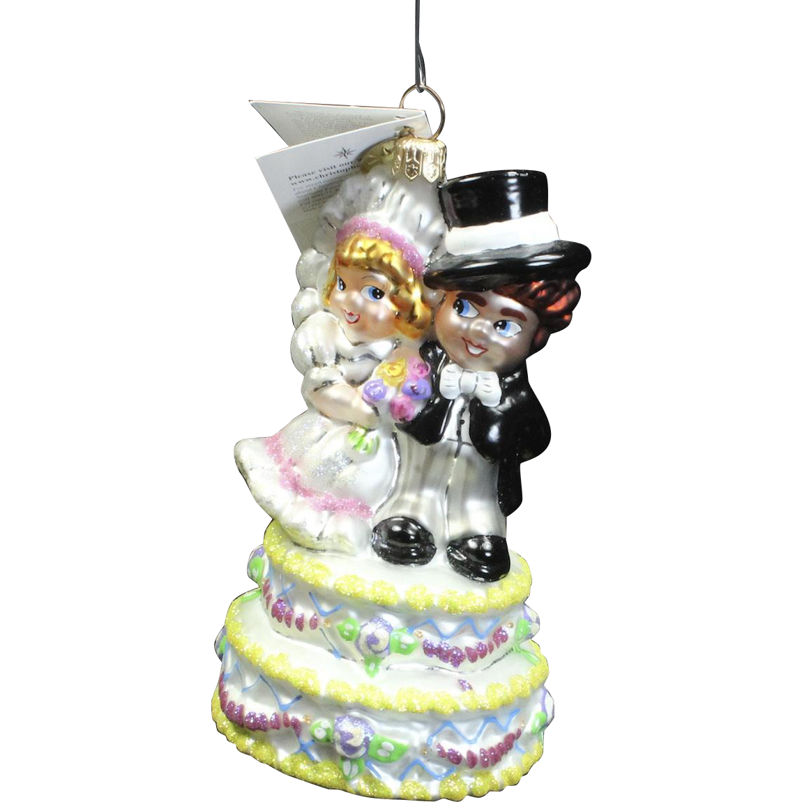 "Radko  ""Cake Walk"" Wedding Cake Topper Glass Christmas Ornament w/ Tag"