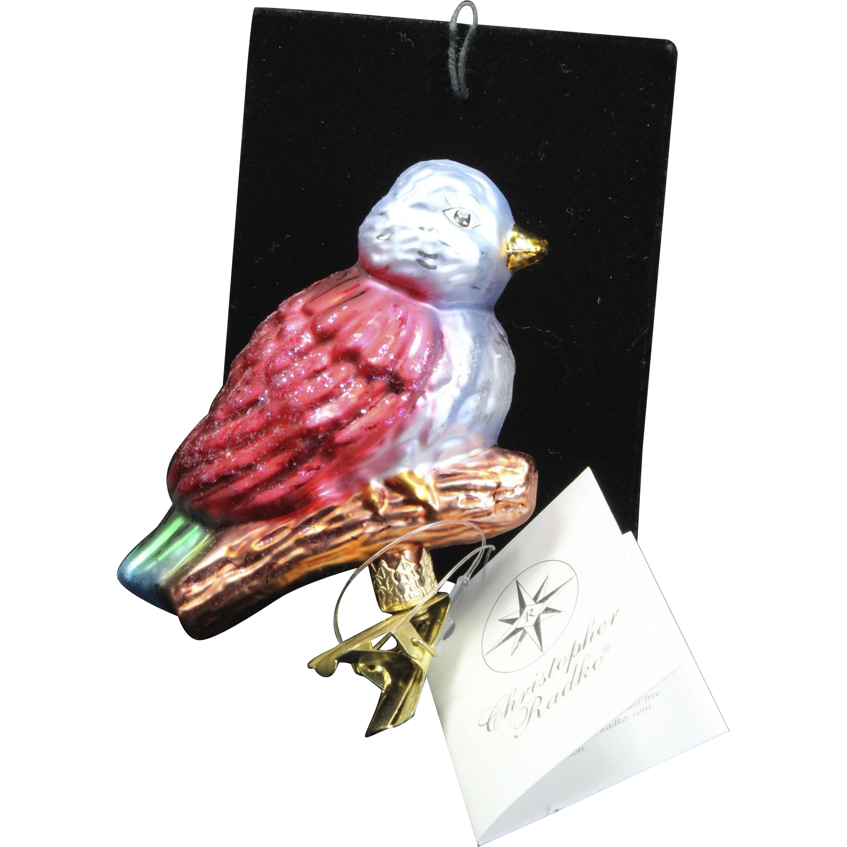 """Radko """"Sweet Tweets-Asst 2"""" Small Bird Christmas Clip Glass Ornament w/ Tag"""