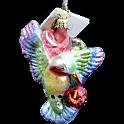 "Radko  ""Hum Along Song"" Hummingbird Hand-Painted Glass Christmas Ornament"