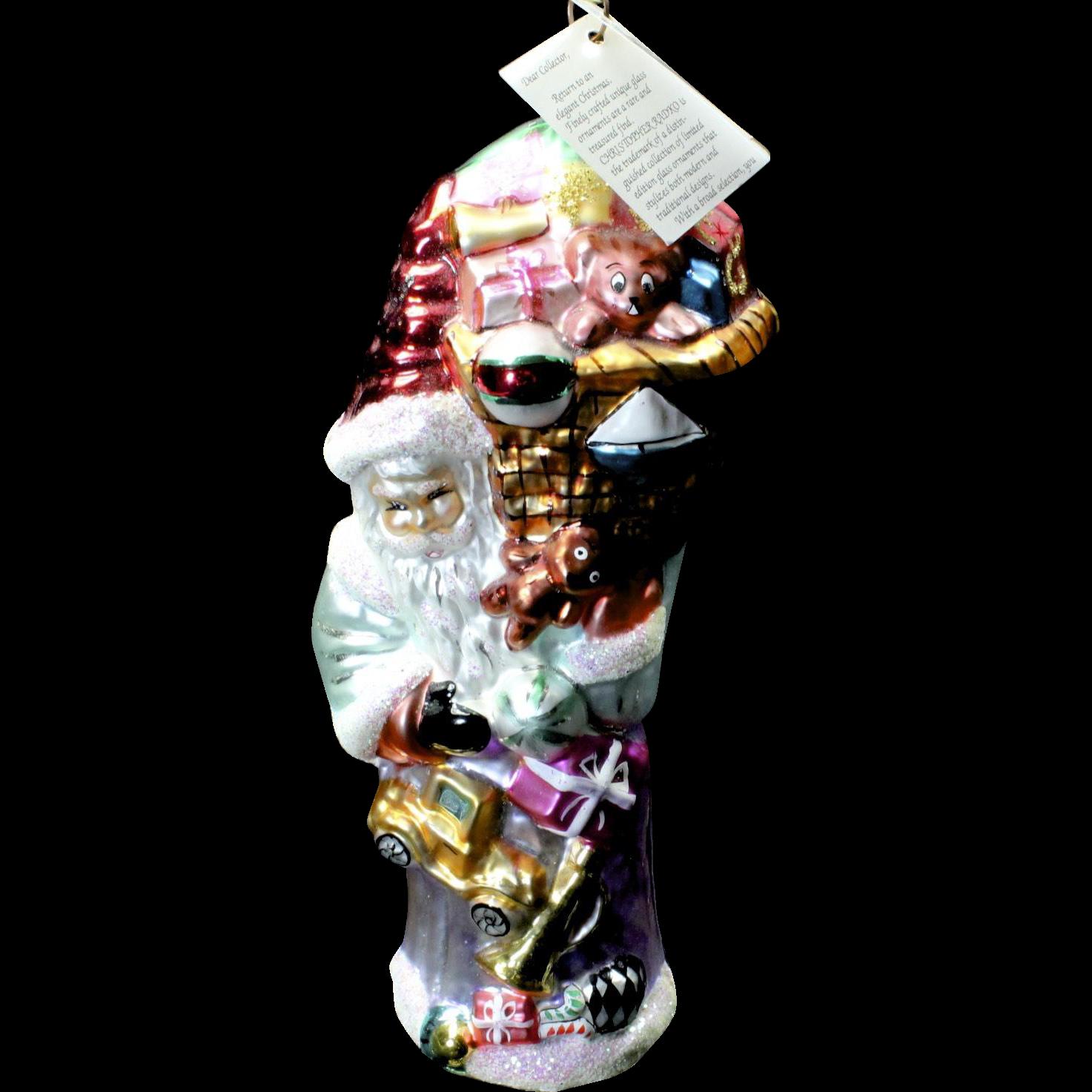 Vintage Radko 1995 Large Santa w/ Toys Hand-Painted Glass Christmas Ornament Tag