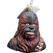 "Radko  ""Chewbacca"" Star Wars Hand-Painted Glass Christmas Ornament with Tag"