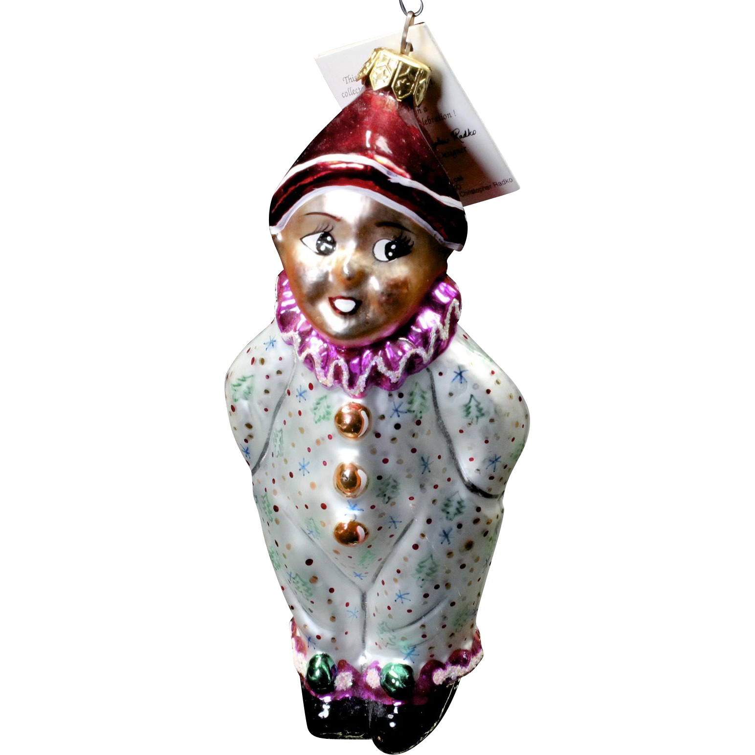 Vintage Radko 1995 Holiday Clown Kid Hand-Painted Glass Christmas Ornament Tag