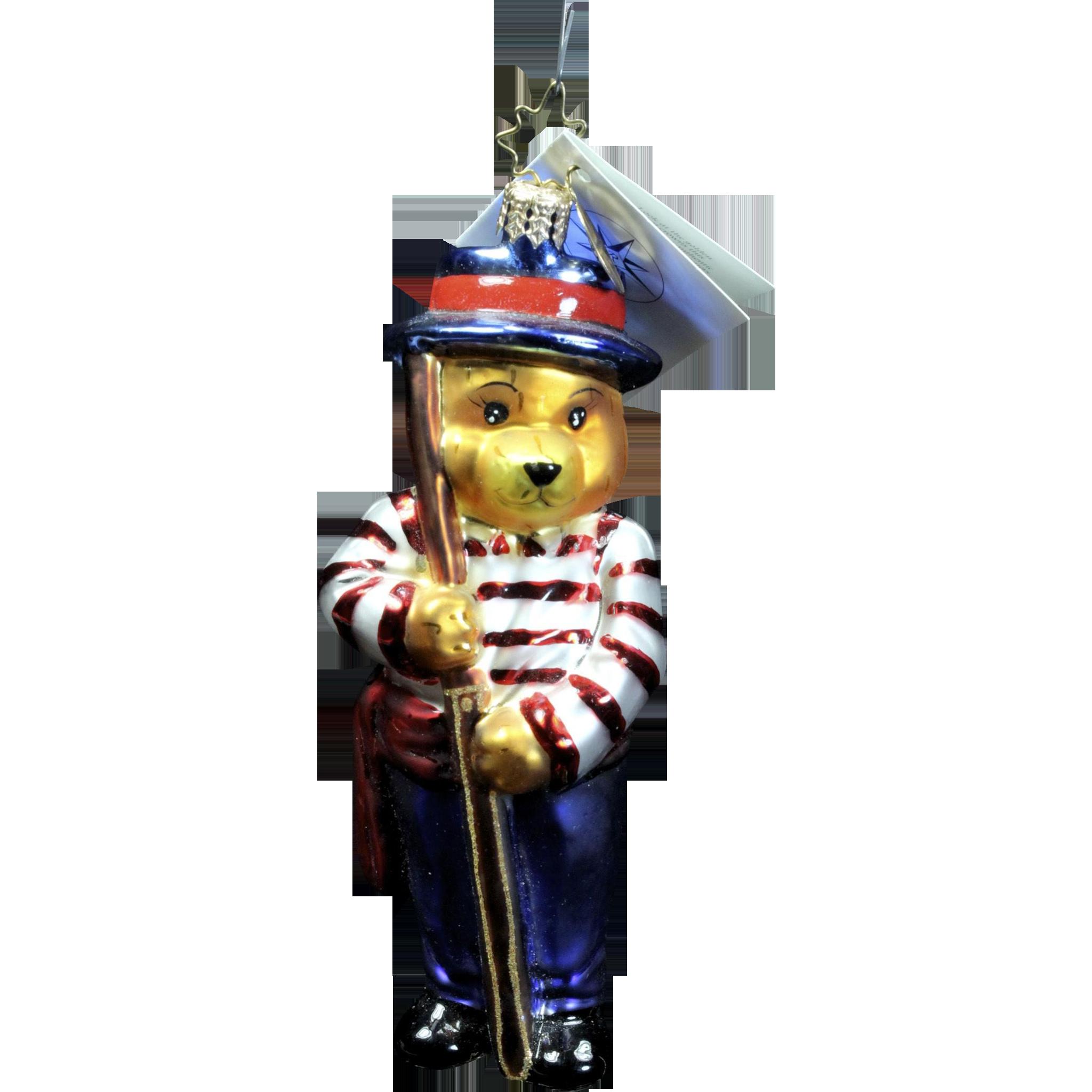 """Radko  """"Teddy Bears-Asst 8"""" Italy Gondolier Bear Glass Christmas Ornament"""