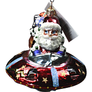 "Radko  ""Fantastic Galactic Santa"" UFO Space Glass Christmas Ornament Tag"