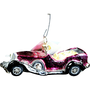 "Radko  ""Roadster Classics Asst 3"" Pink Car Glass Christmas Ornament Tag"