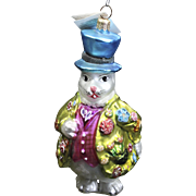 Vintage Radko 1996 Hopper B. Topper White Rabbit Top Hat Glass Easter Ornament