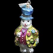 Vintage Radko 1996 Hopper B. Topper White Rabbit Top Hat Glass Easter Ornament