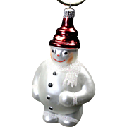 "Vintage Radko 1990 ""Frosty"" The Snowman Glass Painted Christmas Ornament w/ Tag"