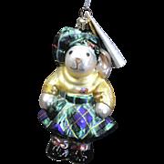 """Radko  """"Highland Fling Hoppy"""" Scottish Bunny Rabbit Glass Christmas Ornament"""