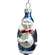 Vintage Blue Circus Clown w/ Drum Poland Hand-Painted Glass Christmas Ornament
