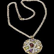 Vintage Multi Gemstone Round Pendant Necklace Sterling Silver Gold Topaz Garnet